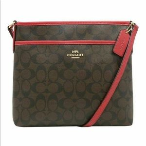 Coach File Bag Crossbody Messenger Brown Red NEW